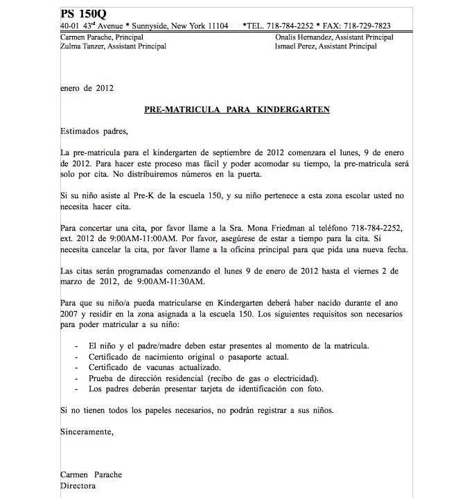 Kindergarten Pre-registration Letter 2012 – PS 150 Queens PTA