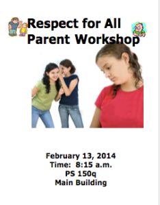 Respect For All Parent Workshop 02/13 at 08:15 am Main Building