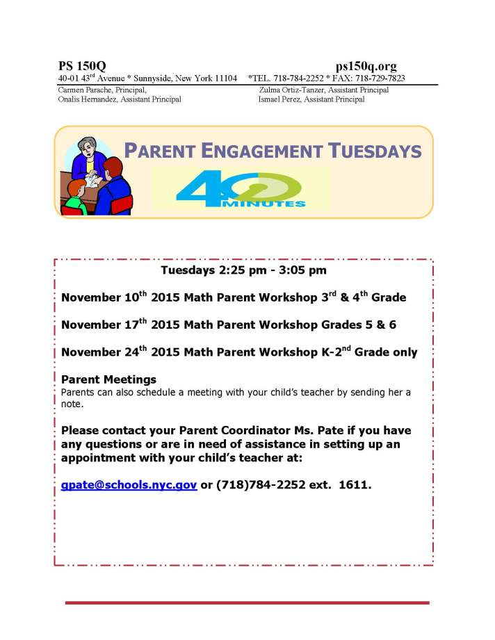Parent Engagement Tuesdays November 2015