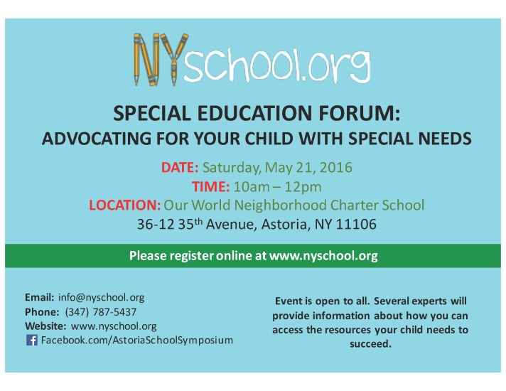 special ed forum postcard